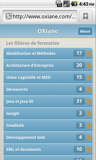 catalogue OXiane sous Android JQtouch