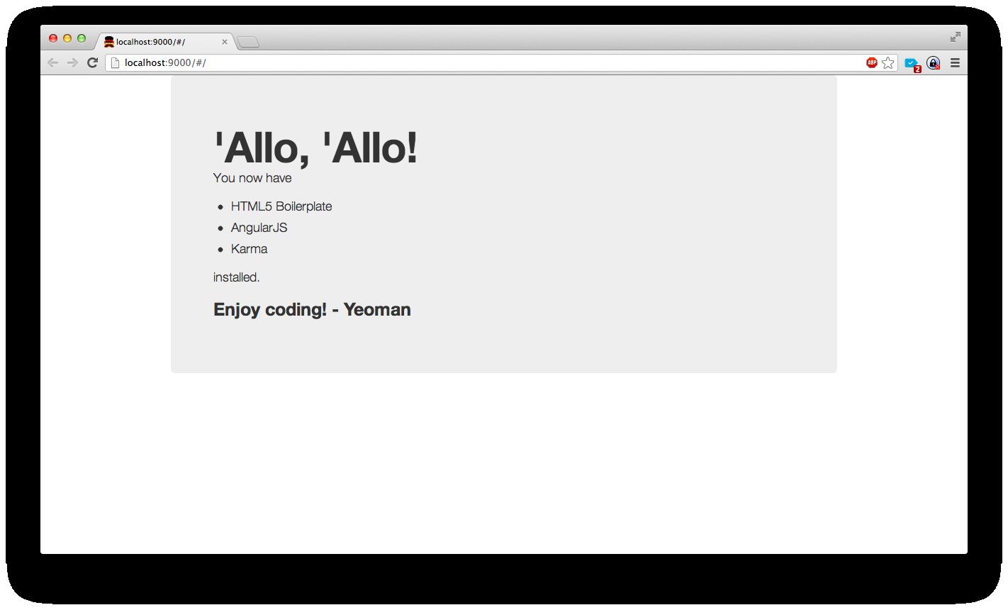 Succès initialisation web app Angular via Yeoman