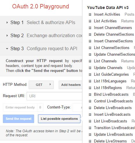 Requêtes disponibles pour l'API Youtube